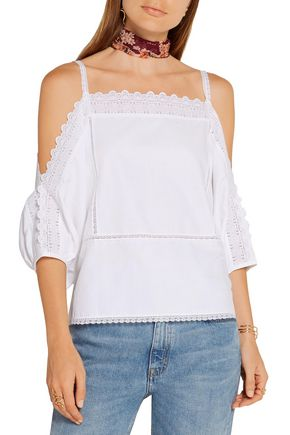 VILSHENKO Carla lace-trimmed cotton-twill blouse