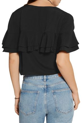 APIECE APART Mora cropped tiered ruffled crepe top