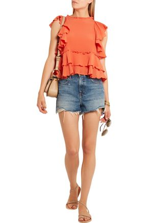 APIECE APART Hacienda ruffled silk-crepon top