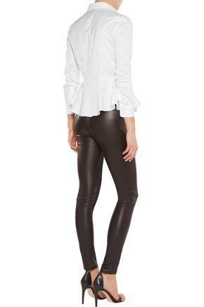 IRIS & INK Cotton-poplin peplum blouse