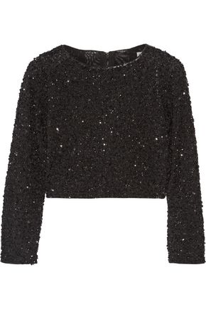 ALICE + OLIVIA Lacey cropped embellished tulle top