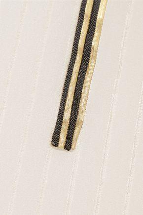 ZEUS + DIONE Cutout metallic-trimmed silk camisole