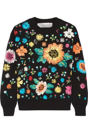 VICTORIA, VICTORIA BECKHAM Faux raffia-embroidered knitted sweater