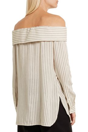 TIBI Off-the-shoulder striped woven top