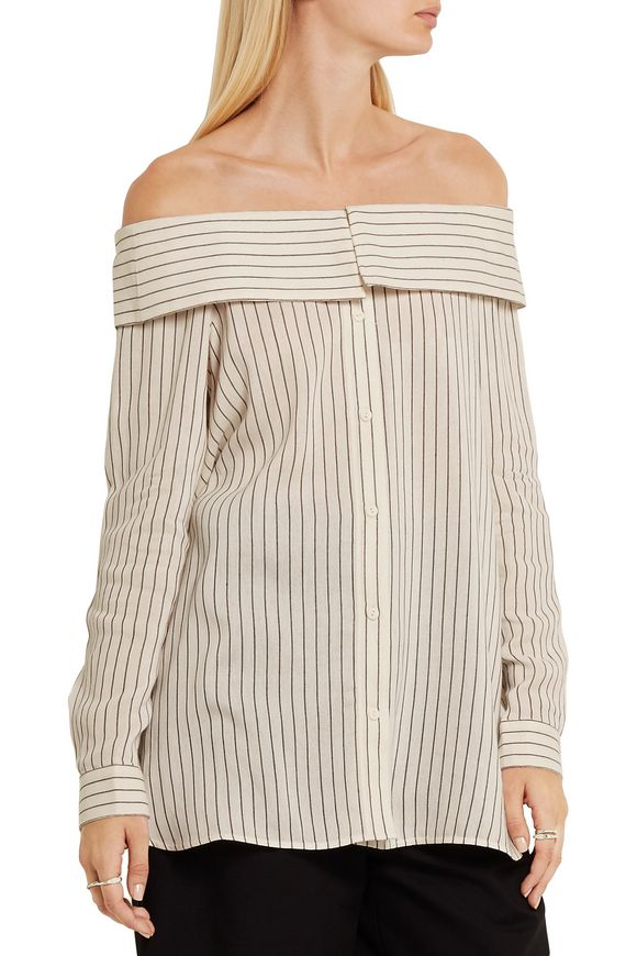Off-the-shoulder striped woven top | TIBI | Sale up to 70% off | THE OUTNET