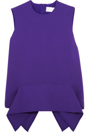 VICTORIA, VICTORIA BECKHAM Draped stretch-wool crepe peplum top