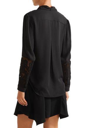 MAIYET Elipse pussy-bow appliquéd chiffon blouse