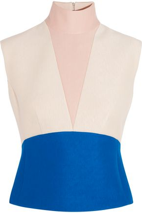 DELPOZO Color-block neoprene turtleneck top