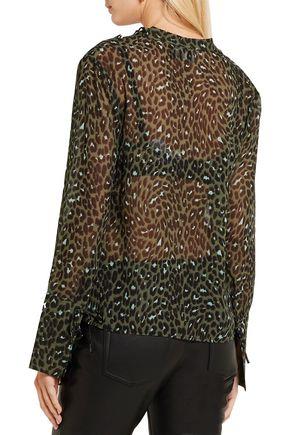 TOPSHOP UNIQUE Rosalind leopard-print silk-georgette blouse