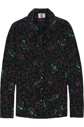 TOPSHOP UNIQUE Tempus printed silk crepe de chine shirt