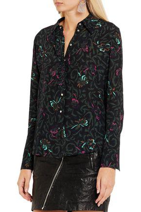 TOPSHOP UNIQUE Tempus printed silk crepe de chine shirt