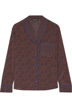SALONI Peggy polka-dot silk-crepe shirt