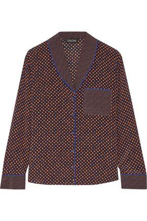 SALONI Peggy polka-dot silk-crepe shirt