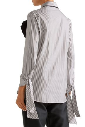 ISA ARFEN Pussy-bow striped cotton and silk-blend shirt