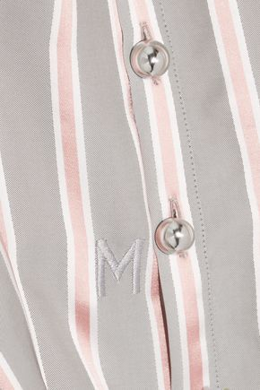 MONSE Draped striped silk-twill blouse