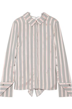 MONSE Draped striped silk-twill blouse