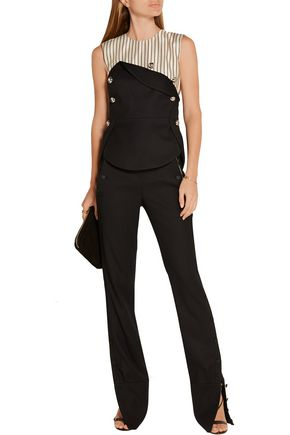MONSE Layered pinstriped silk-satin and stretch wool-blend twill top