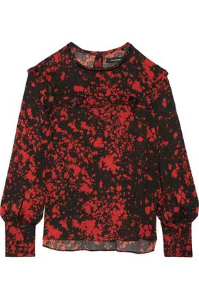 ISABEL MARANT Ikara leather-trimmed printed stretch silk-blend blouse