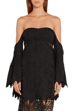 ... JONATHAN SIMKHAI Off-the-shoulder guipure lace and crepe top ...