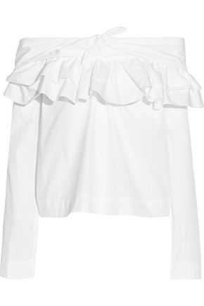 ISA ARFEN Off-the-shoulder ruffled cotton-poplin blouse