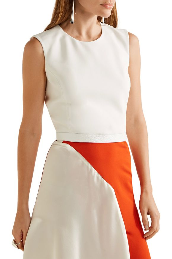 Cropped croc-effect leather-trimmed crepe top | MUGLER | Sale up to 70% off  | THE OUTNET