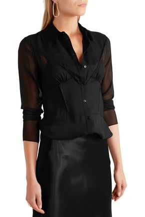 JOSEPH Nive georgette-paneled silk blouse