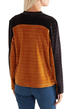 KÉJI Two-tone cotton-blend velvet sweatshirt