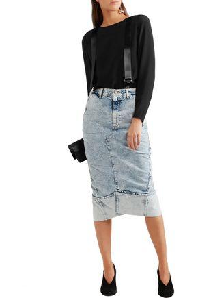 RONALD VAN DER KEMP Satin-trimmed silk-crepe blouse