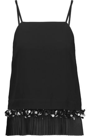 MOTHER OF PEARL Nita plissé-paneled embellished crepe top