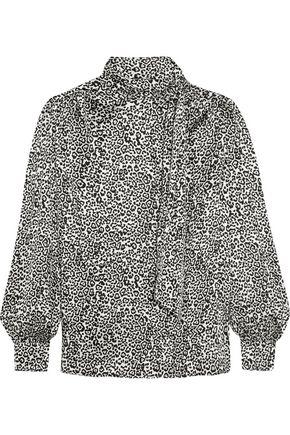 SAINT LAURENT Pussy-bow leopard-print silk-satin blouse
