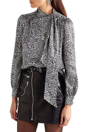 SAINT LAURENT Pussy-bow leopard-print silk-satin blouse