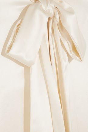 SAINT LAURENT Pussy-bow silk-satin blouse