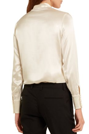 SAINT LAURENT Pussy-bow silk-satin blouse