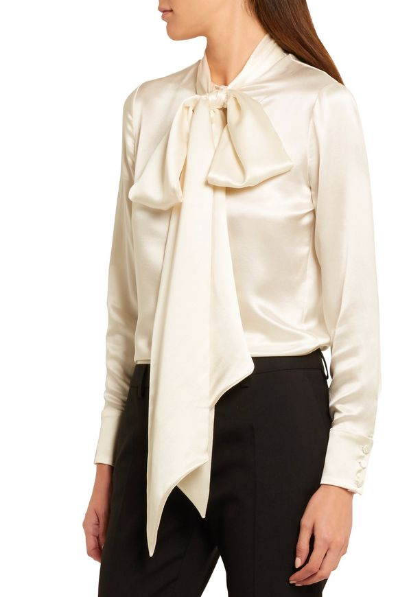 026c7c6e1f2868 Pussy-bow silk-satin blouse | SAINT LAURENT | Sale up to 70% off ...