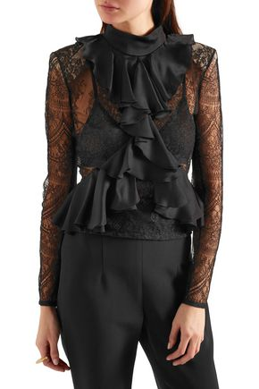 BALMAIN Ruffled satin and lace top