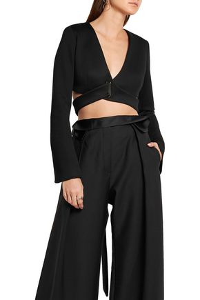 BEAUFILLE Tarvos cropped modal-neoprene wrap top