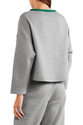 VIKA GAZINSKAYA Cropped quilted stretch-cotton sweatshirt
