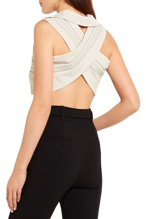 ATLEIN Cropped stitched stretch-jersey crepe top