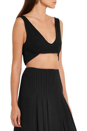 ATLEIN Cropped jersey-crepe top