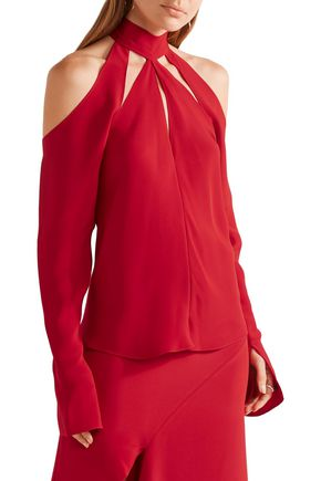JUAN CARLOS OBANDO Sofia cutout silk-satin blouse