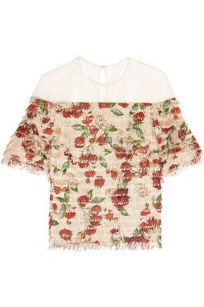 MOTHER OF PEARL Avery fringed printed silk-voile top