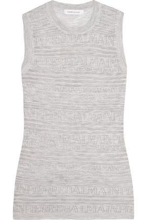 PIERRE BALMAIN Burnout-effect knitted top