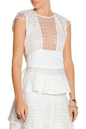 ISABEL MARANT Vermer embroidered silk-organza peplum top