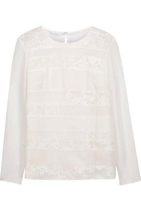 OSCAR DE LA RENTA Lace-paneled silk crepe de chine blouse