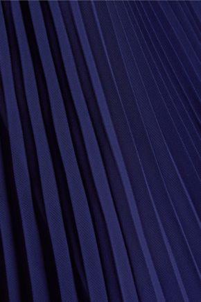 OSCAR DE LA RENTA Pleated ruffled chiffon blouse