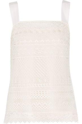 OSCAR DE LA RENTA Cotton-blend guipure lace tank