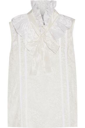 OSCAR DE LA RENTA Pussy-bow silk-trimmed lace top