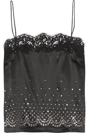 ALEXANDER WANG Lace trimmed embellished satin camisole