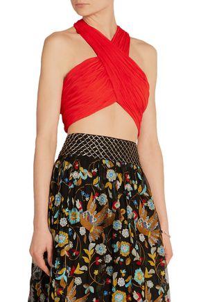ALICE + OLIVIA Leyna cropped linen-blend plissé halterneck top