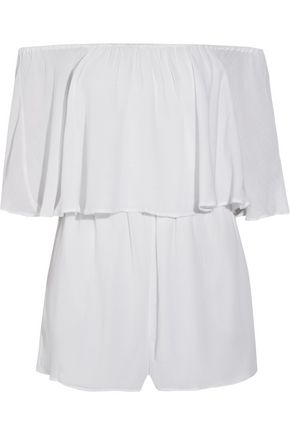 ALICE+OLIVIA Alivia off-the-shoulder layered gauze playsuit